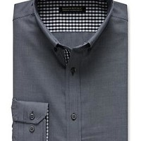 Tailored Slim-Fit Non-Iron Textured Button-Down Shirt