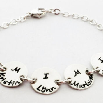 Grandma bracelet custom handstamped personalized sterling silver by Hammered Love Letters
