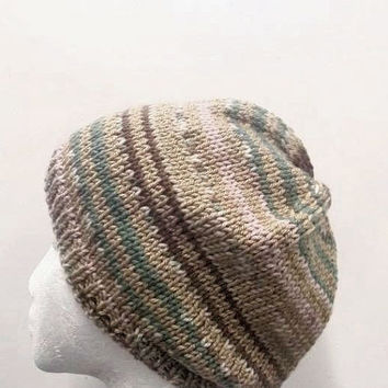 Knitted beanie hat, handmade, multicolor  4767