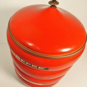 Vintage Canister Set, Lincoln Beauty Wear Pagoda Stackable Set, Mid Century Burnt Orange
