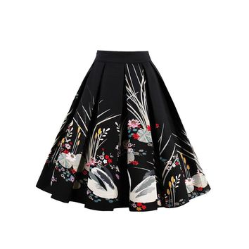 Botanical Print Box Pleated Skirt