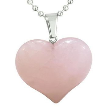 Amulet Large Puffy Heart Lucky Charm in Rose Quartz Gemstone Healing Powers Pendant Necklace