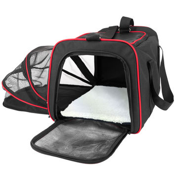 Expandable Soft Sided Airline Approved Pet Carrier with Padded Insert