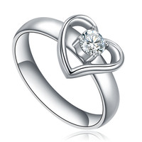 Stainless Steel Cubic Zirconia and Heart Shape Ring