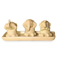 "NOVICA 173049 ""Elephant Life Lessons"" Celadon Ceramic Figurines, Set of 3"