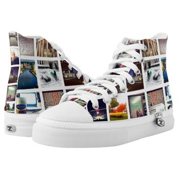Custom Instagram Photo Collage High-Top Sneakers