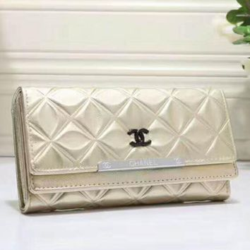CHANEL Ms. Shopping Leather Buckle Purse Wallet H-LLBPFSH