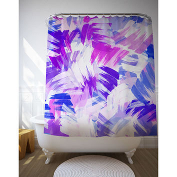 "Purple Graphic Shower Curtain, Abstract Art, Bathroom Decor, Purple Pink Graphics, Bath Decoration, 71"" x 74"""