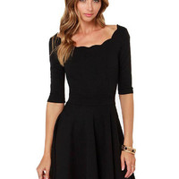 Black Half Sleeve Backless Scalloped Neckline Mini Skater Dress