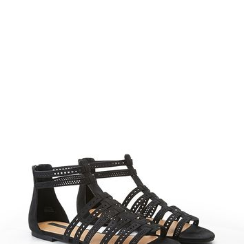 Caged Faux Suede Sandals