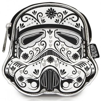 """""""Stormtrooper Floral"""" Faux Leather Coin Bag by Loungefly (White)"""