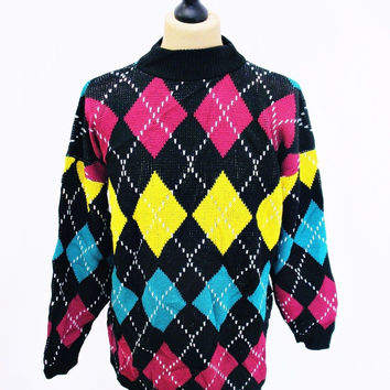 Vintage 1980s Psychedelic Crazy Pattern Colourful Bright Sweater Jumper Large