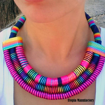 Sade Multi Strand African necklace / fabric Statement necklace , African jewelry, fabric jewelry , Massai