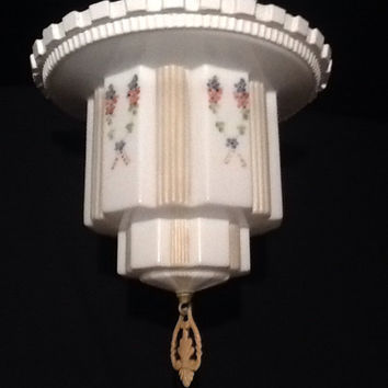 Antique Art Deco Skyscraper Ceiling Light Fixture Unique Flush Mount