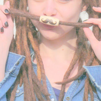 Wooden dread beads: wood bead moustache, burned mustache bead for dreadlock, hair accessory, handmade hippie natural beads, bead with symbol