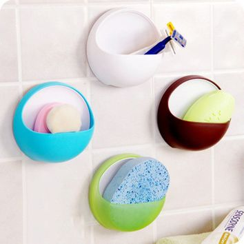Hot Plastic Suction Cup Soap Toothbrush Box Dish Holder Bathroom Shower Accessory