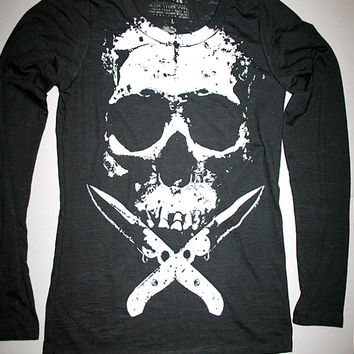 womens skull top, long sleeve, burnout t shirt, plus size, long sleeve skull t shirt, heavy metal clothing, womens skull long sleeve, S-XXL