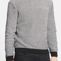 TOPMAN Topman Textured Grid Crewneck Sweater | Nordstrom Rack