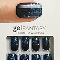 "**NEW** Kiss Nails GEL FANTASY ""KGN03"" (PAINTED VEIL) Medium Design Nails w/Adhesive Tabs & Glue"