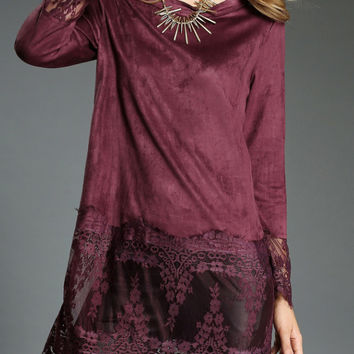 Red Long Sleeve Lace Insert  Blouse