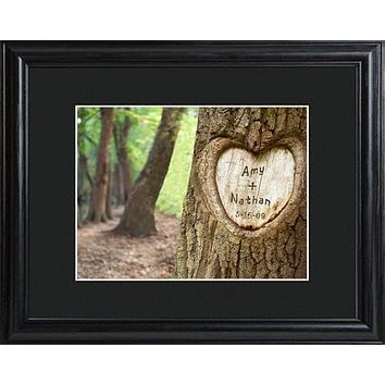 Tree of Love Sign with Wood Frame Free Engraving for Couples