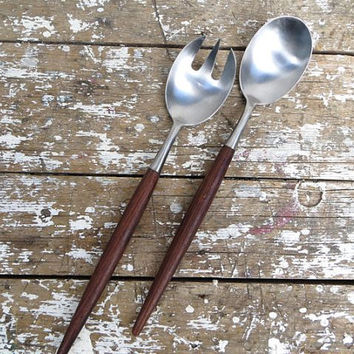 Danish Modern Salad Set Salad Utensils Serving Spoon and Fork Teak