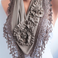 Mocha Jersey Rose Shawl Scarf with lace edge by DIDUCI