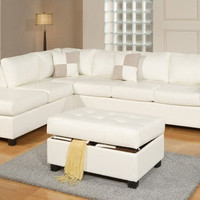 Reversible Bonded Leather Sectional w/ Ottoman - White