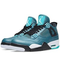 "Nike Mens Air Jordan 4 Retro 30th ""Teal"" Teal/White-Black Leather Basketball Shoes Ai"