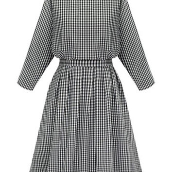 Monochrome Plaid Button Back Bowtie Long Sleeve Dress