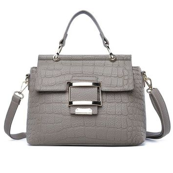 Faux Leather Buckled Handbag