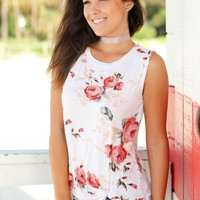 Ivory Floral Sleeveless Top with Knot