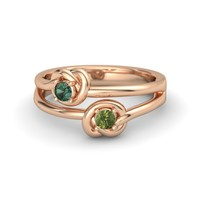 18K Rose Gold Ring with Green Tourmaline & Alexandrite