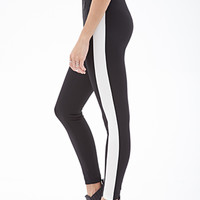 FOREVER 21 Racing Stripe Scuba Knit Leggings Black/Cream