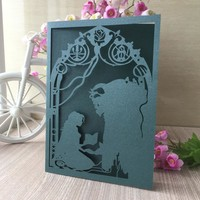 45pcs Laser Cut Beauty And The Beast Wedding Invitations Card Birthday Party Decorations Event&Party Supplies