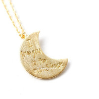 i love you, to the moon and back, moon necklace, i love you necklace, love necklace, gift for her, woman necklace, love, anniversary gift