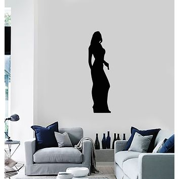 Vinyl Wall Decal Woman with Gun Agent James Bond Silhouette Spy Girl Stickers Mural (ig6004)