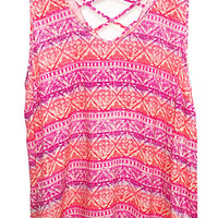 Plus Size Batik Print Lattice Back Tank Top