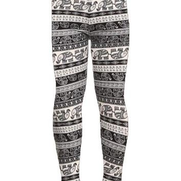 Girls Elephant Printed Leggings Black/White: S/M/L