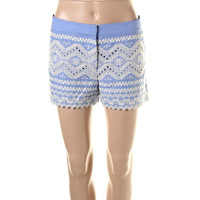 Tory Burch Womens Embroidered Flat Front Casual Shorts
