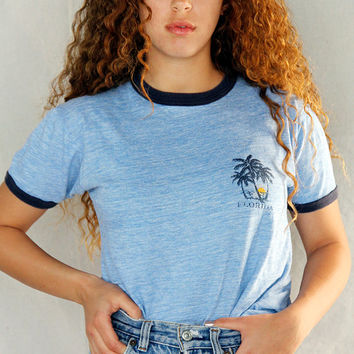 """Vintage 80's """"Florida"""" Vacation Blue Heather Ringer Tee Made in USA / Vintage Graphic Tee / 80's Vintage  Surf Tee"""