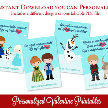 Frozen Valentines Day Cards, Personalized Valentines, INSTANT DOWNLOAD, Valentine Printable, Edit Text with Adobe Reader