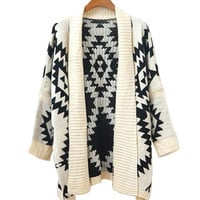 Beige Geometrical Patterns Print Bat Tippet Cardigan