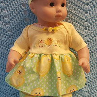 "Baby Doll Clothes ""Cute Chicks"" 15 inch doll outfit Will fit Bitty Baby® Bitty Twins®  dress, leggings, socks, headband Easter or anytime"