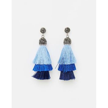 Blue Gold Plated Drop Earring