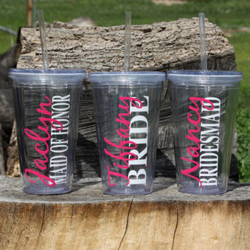 Listing for 7 Personalized Bridal Party Acrylic Tumbler with Straws - BPA Free