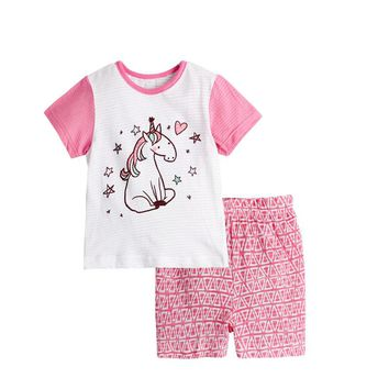Baby Unicorn Pajamas Children for Girls Pyjamas Boys Sleepwear Kids Cartoon Pajamas Frog Lion Cat Dinosaur Pijamas Tops+shorts