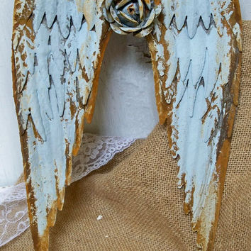 Metal wall wings with metal rose soft blue rusty distressed sculpture home decor Anita Spero
