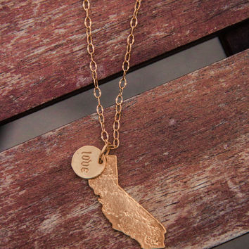 Gold 2-charm CA State with Love Necklace
