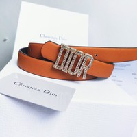 Dior Tide brand men's and women's diamond-encrusted letter head smooth buckle belt orange